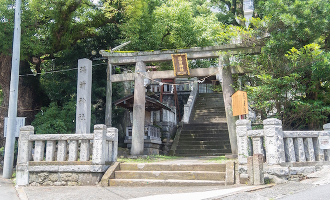 来宮神社から徒歩9分の場所にある湯前神社